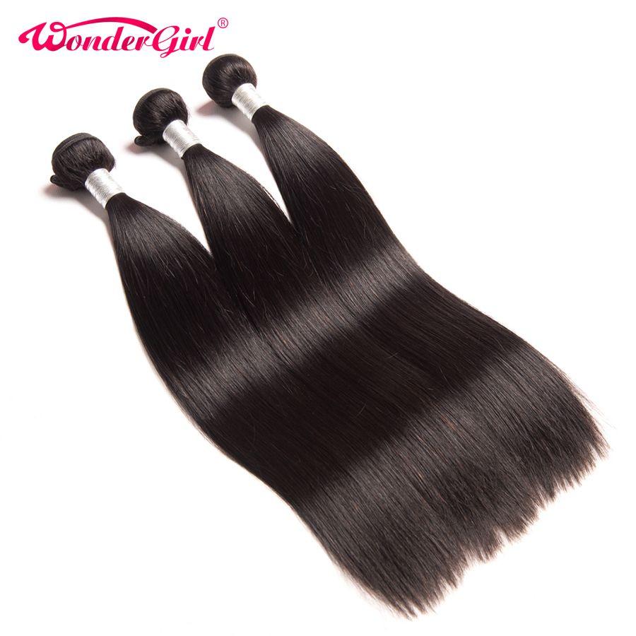 Wonder girl cheveux brésiliens droits tisse 100% paquets de cheveux humains Remy Extension de cheveux peut acheter 3/4 paquets peuvent être teints