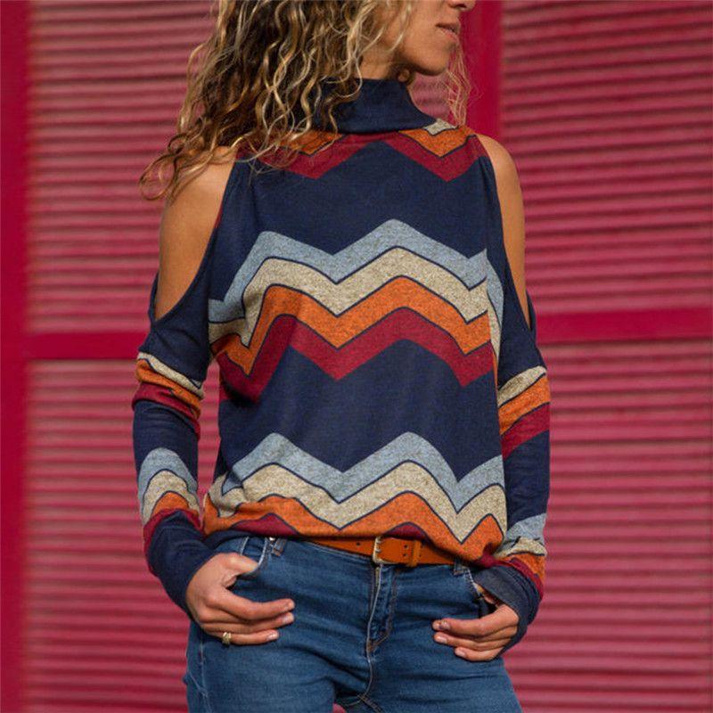 Femmes Blouses Sexy épaule froide hauts décontracté col roulé haut tricoté pull pull imprimer à manches longues chemise Blusas Camisas Mujer