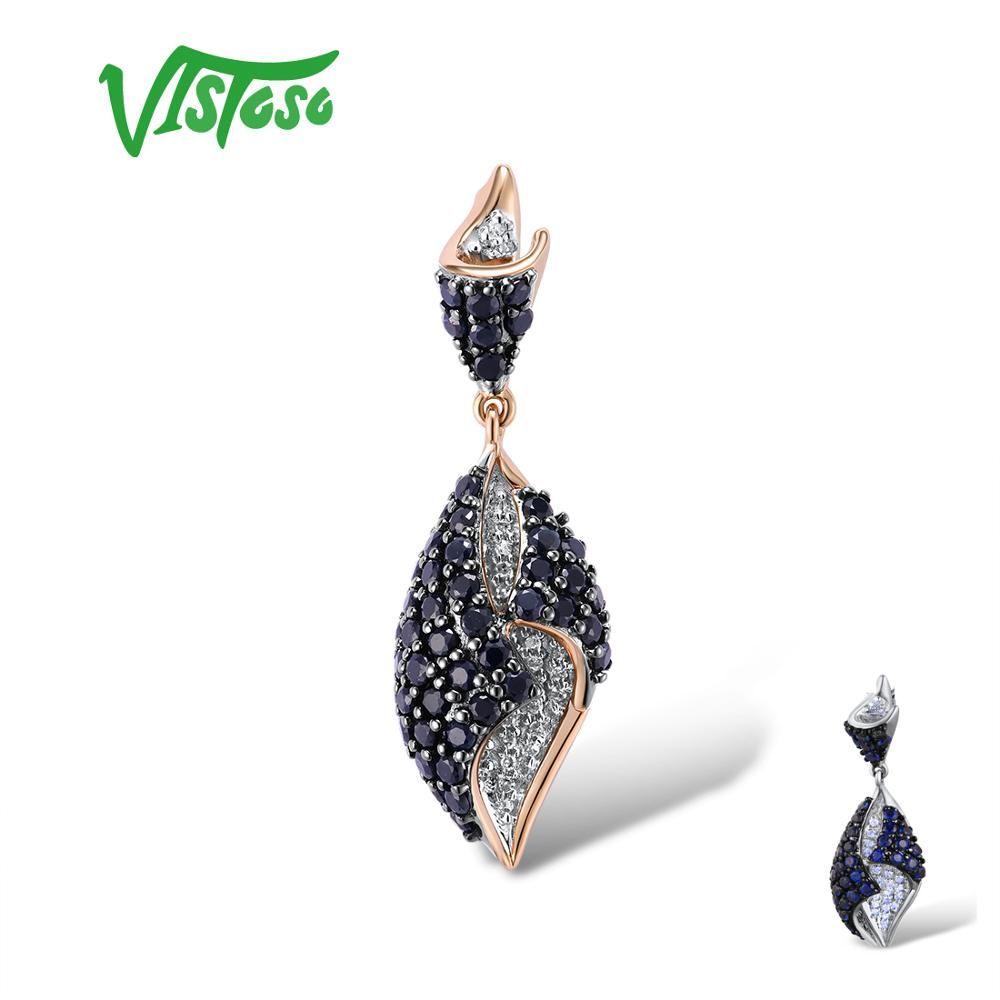 VISTOSO Gold Anhänger Für Frauen Echte 14K 585 Rose Weiß Gold Funkelnden Diamant Blau Sapphire Delicate Hochzeit Edlen Schmuck