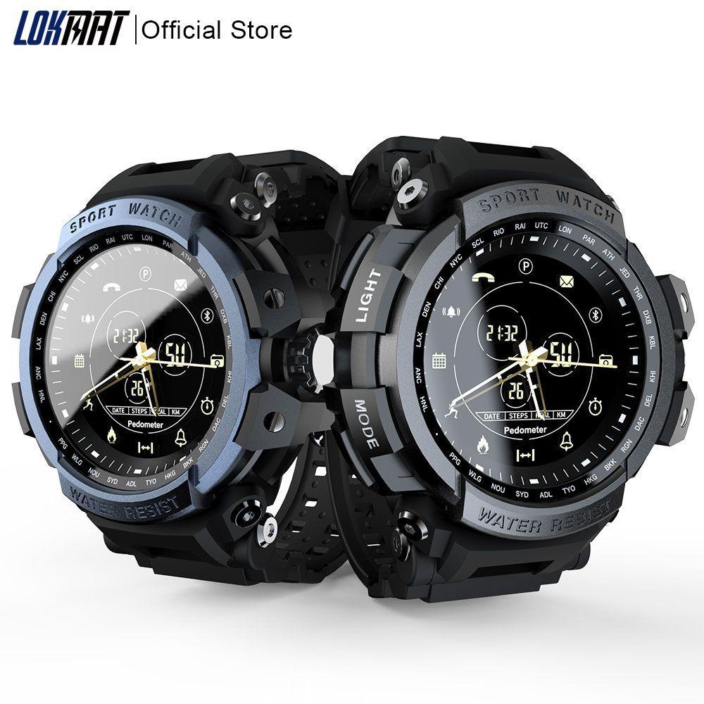 LOKMAT Sport montre intelligente professionnelle 5ATM étanche Bluetooth rappel d'appel numérique hommes horloge SmartWatch pour ios et Android