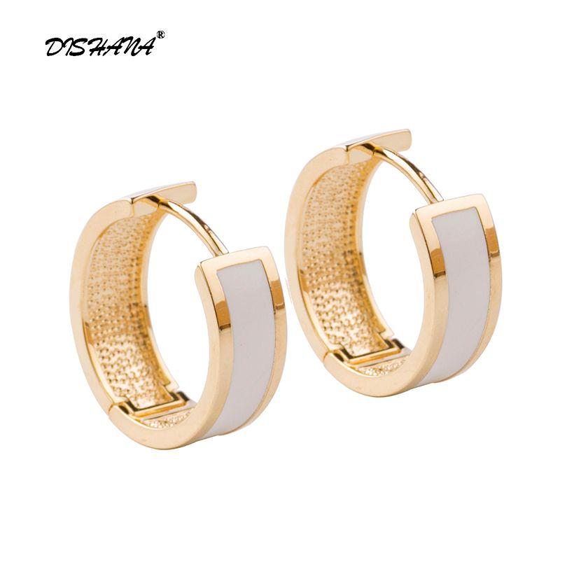 Nouveau bijoux simples petit cercle rond noir et blanc goutte à goutte huile boucles d'oreilles pour femmes fête cadeau mode boucle d'oreille bijoux E0614