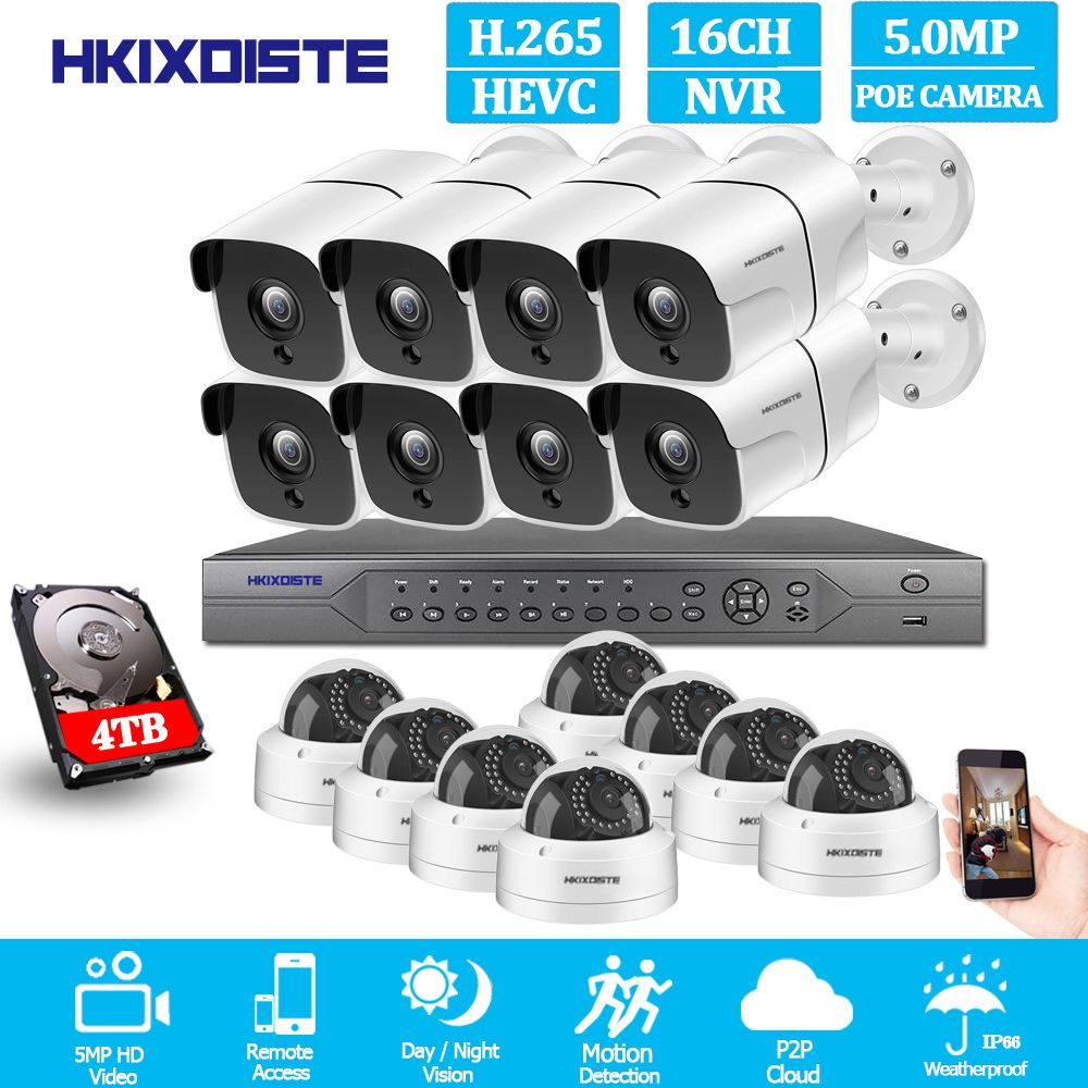 H.265 16CH 5MP POE NVR CCTV System 5MP Outdoor IP67 Wetter POE IP Kameras Video Security Set 8CH 4K HDMI