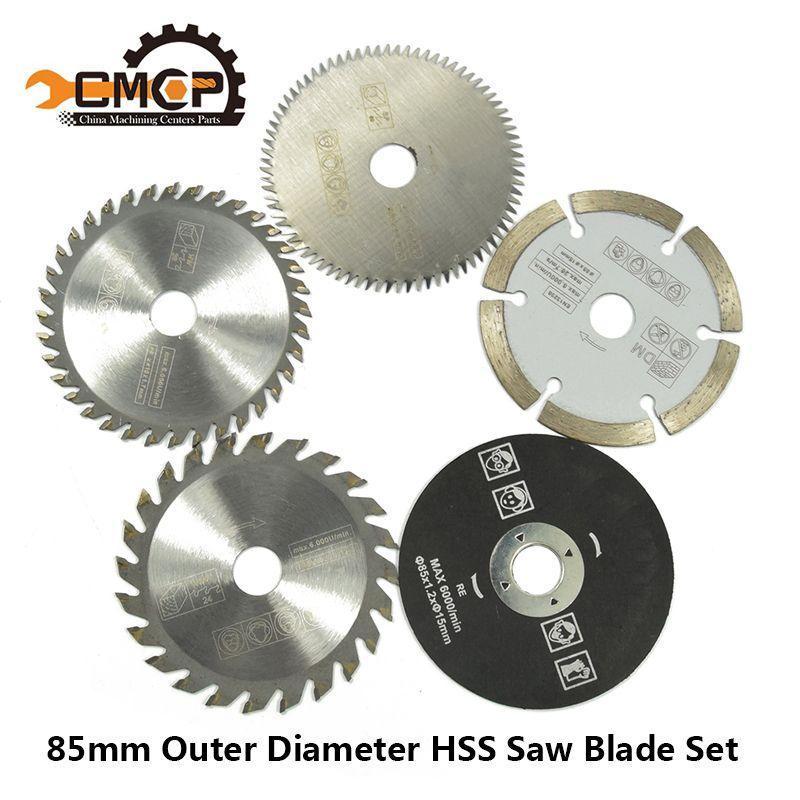 5 pièces 85mm outil de coupe lames de scie pour outil électrique lame de scie circulaire pour bois HSS lame de scie Dremel Cutter circulaire Mini lame de scie