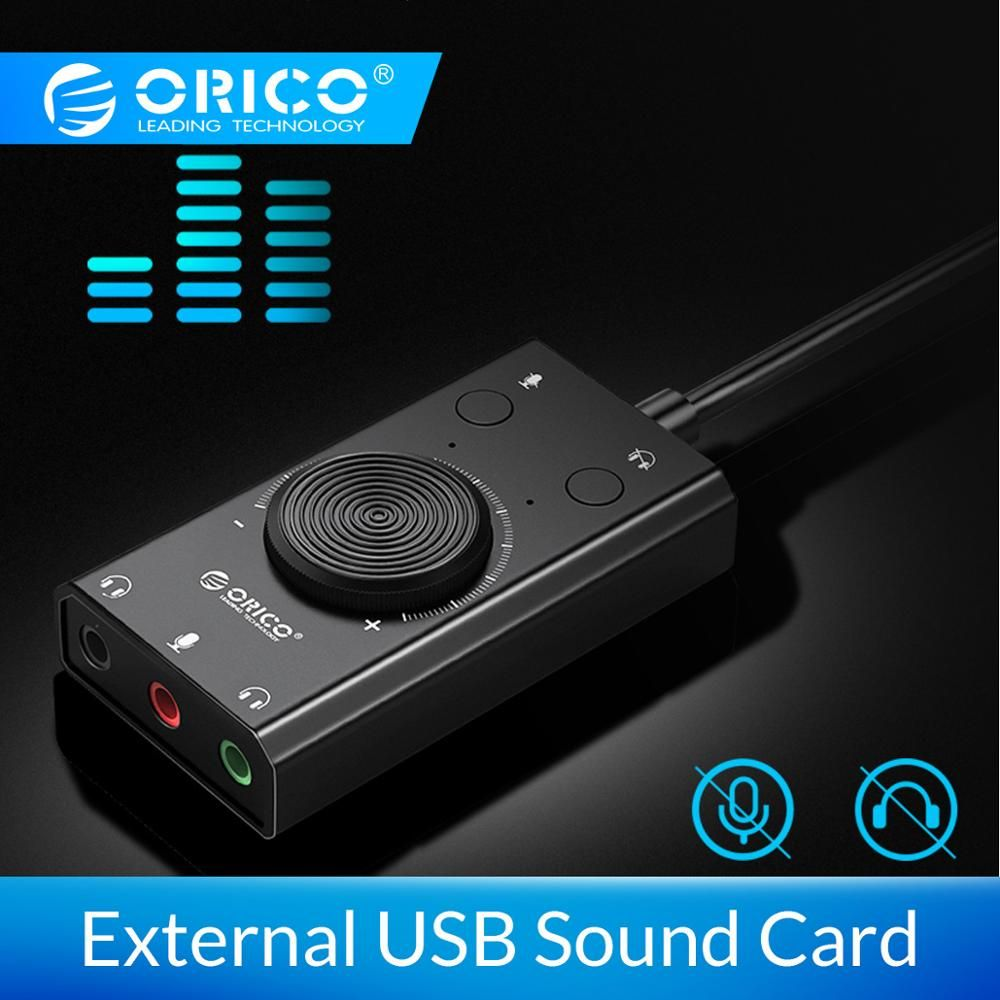 ORICO externe USB carte son stéréo micro haut-parleur casque Audio Jack 3.5mm câble adaptateur interrupteur muet réglage du Volume lecteur libre