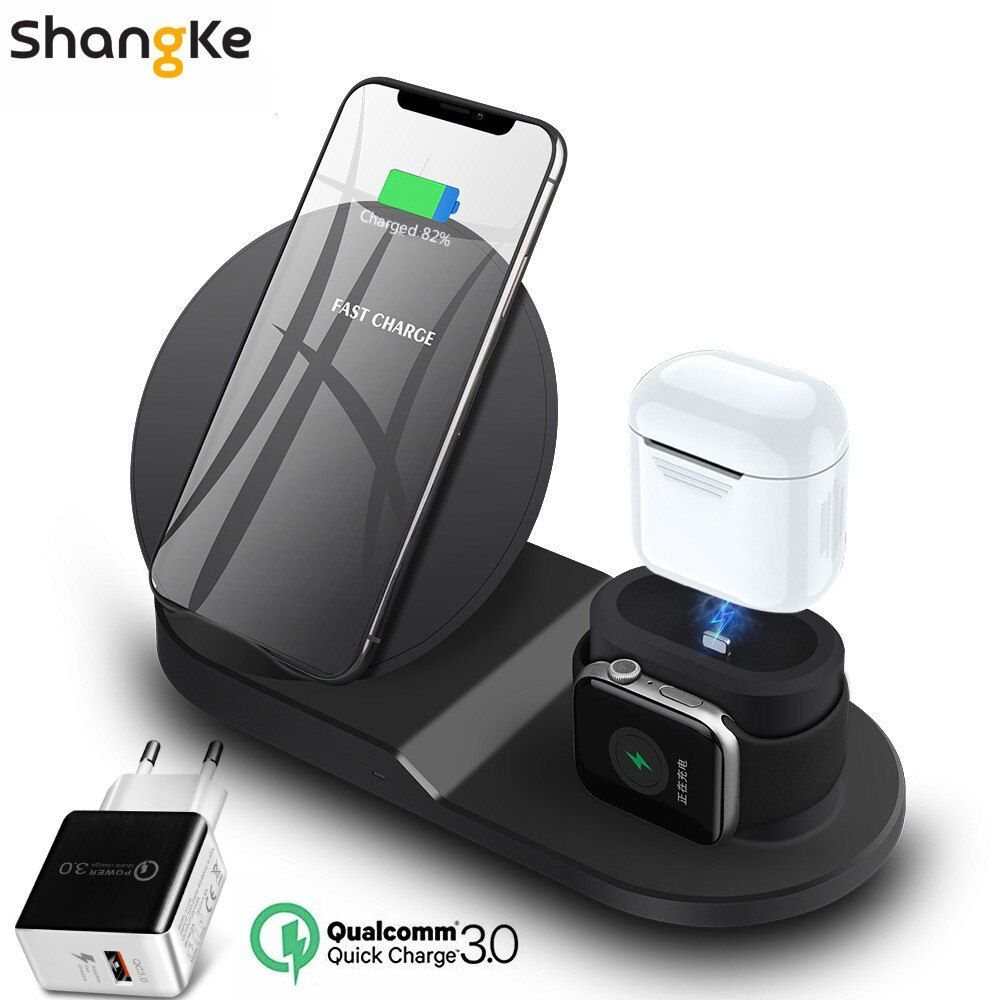 Wireless Charger Stand for iPhone AirPods Apple Watch, Charge Dock Station Charger for Apple Watch Series 4/3/2/1 iPhone X 8 XS