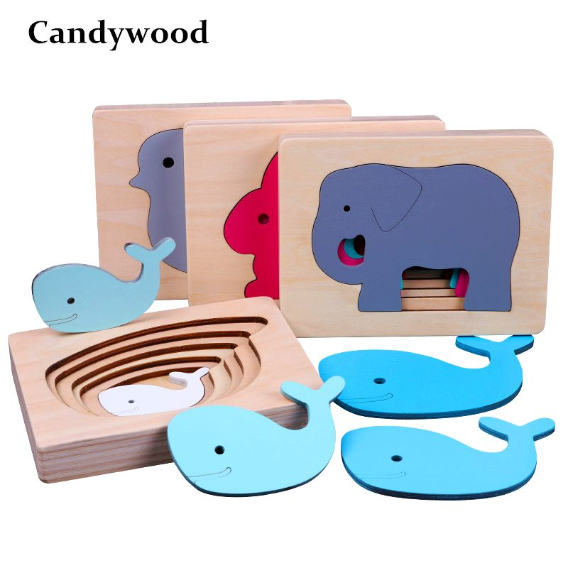 Candywood Children's Animal 3D Puzzles Wooden Toys Size Color Gradient Multi-layer Puzzle Kids Educational Toys