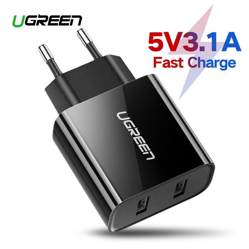 Chargeur USB Ugreen pour iPhone 8X7 6 iPad 5V3. 1A chargeur mural USB intelligent pour Samsung Galaxy S9 LG G5 double chargeur de téléphone portable