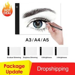 Graphics Tablet A3 A4 A5 LED Drawing Tablet Thin Art Stencil Drawing Board Light Box Tracing Table Pad Three-level Dropshipping