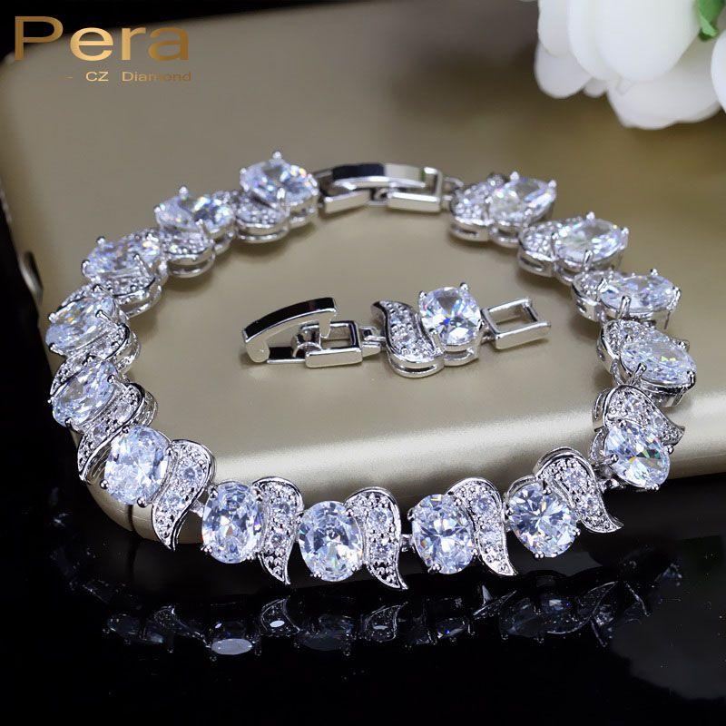 Pera luxe 925 en argent Sterling mariée mariage fête bijoux Super blanc cubique zircon chaîne et lien Bracelet pour les mariées B081