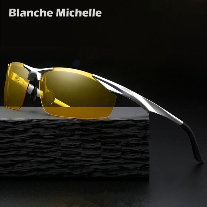 2019 Vision nocturne en aluminium lunettes de soleil hommes polarisés UV400 lunettes de soleil hommes conduite lunettes oculos gafas de sol hombre avec boîte