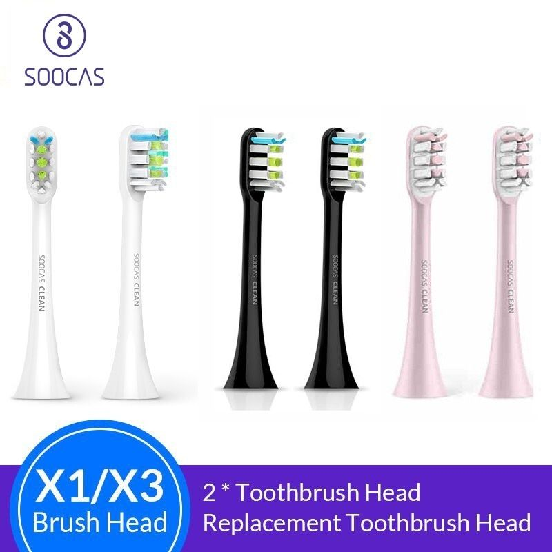 Soocas X3 X1 X5 têtes de brosse à dents pour Xiaomi Mijia X3 tête de brosse à dents original Sonic électrique remplacement têtes de brosse à dents 2 pièces