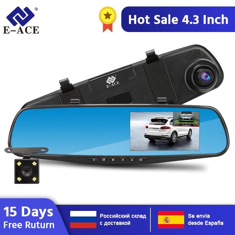 E-ACE Full HD 1080P Voiture Dvr Caméra Automatique 4.3 Pouces Rétroviseur Enregistreur Vidéo Numérique Double Lentille Registratory Caméscope
