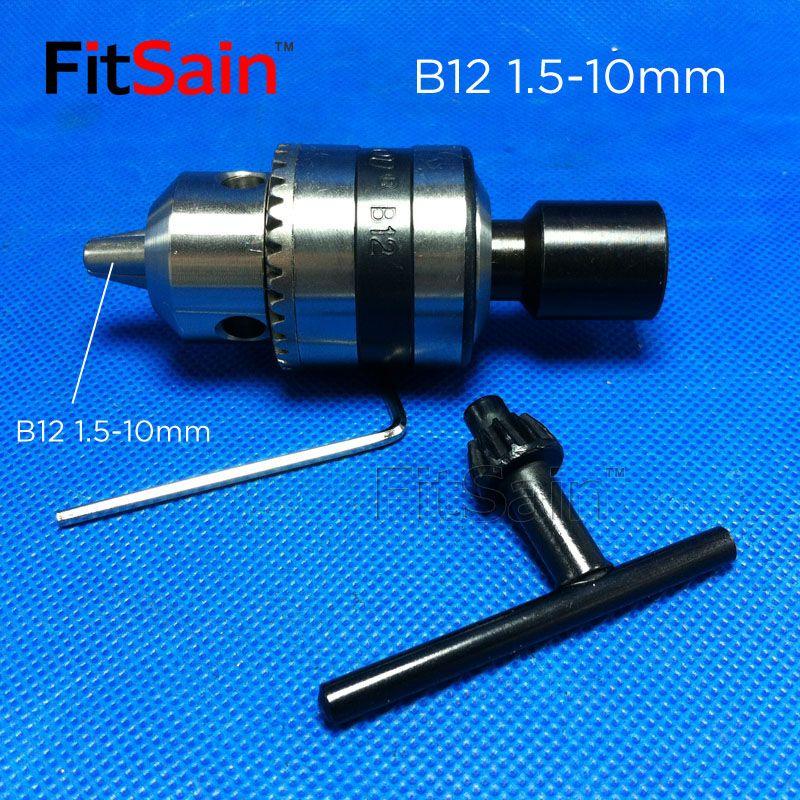 FitSain-B12 1.5-10mm mini mandrin de forage pour arbre de moteur 5/6/6.35/8/10/12/14mm connexion tige outils électriques accessoires perceuse presse