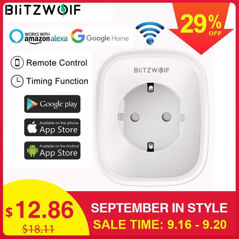 BlitzWolf BW-SHP2 WIFI prise intelligente prise EU 220V 16A télécommande interrupteur de synchronisation intelligent travail pour Amazon Alexa/Google Assistant