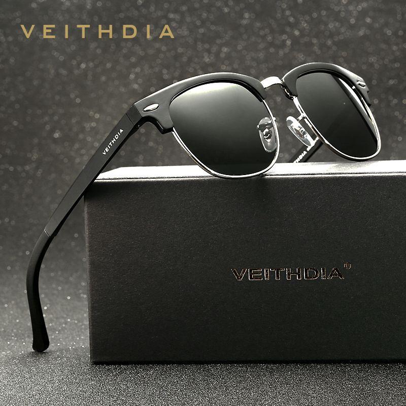 VEITHDIA rétro unisexe aluminium magnésium hommes lunettes de soleil polarisées Vintage accessoires lunettes de soleil pour hommes femmes 6690