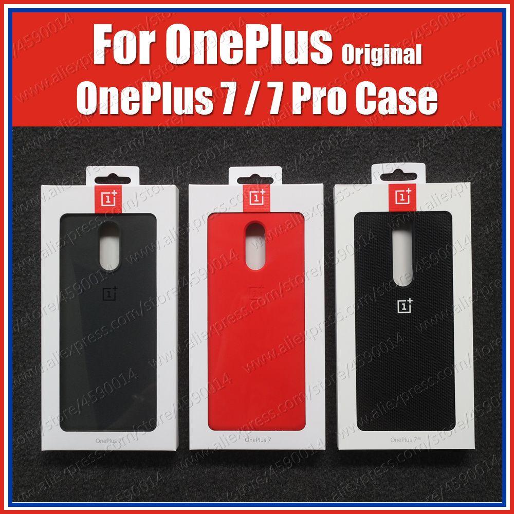 Prix en vrac (produit) Original 100% Oneplus 7 Pro boitier Oneplus 7 couvercle de boitier en silicone Stock officiel grès Karbon