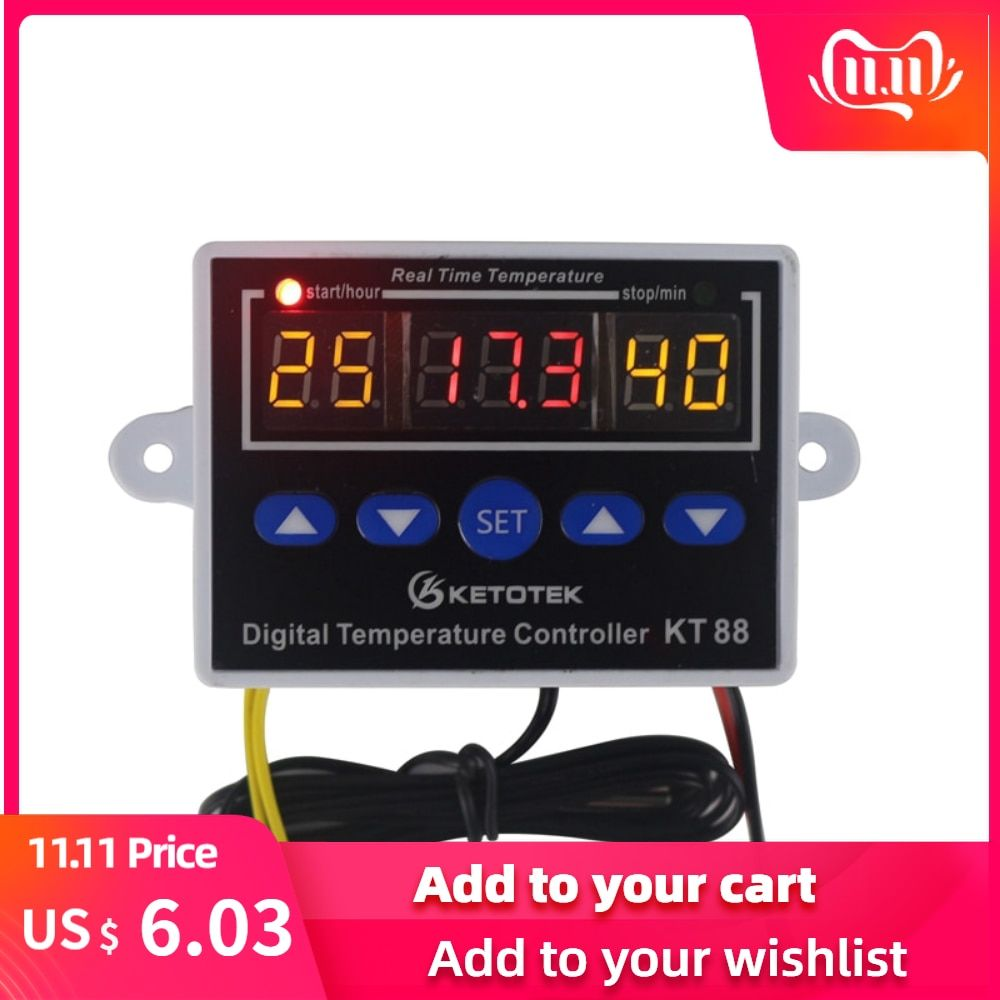 Digital Thermostat 12V 24V 110V 220V Temperature Controller Temperature Regulator Control Switch Relay Output 10A 220VAC