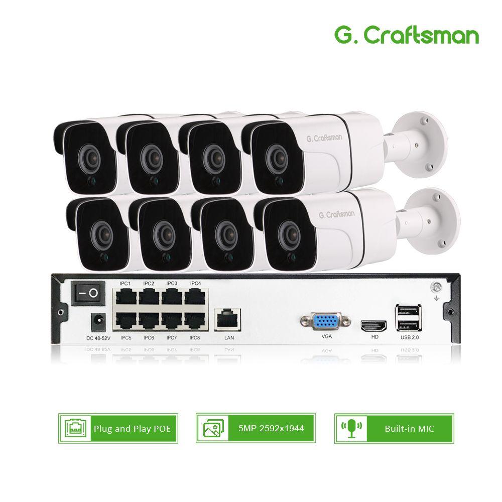 8ch 5MP Audio POE Kit H.265 System CCTV Sicherheit NVR Outdoor Wasserdicht IP Kamera Überwachung Alarm Video Rekord G. handwerker