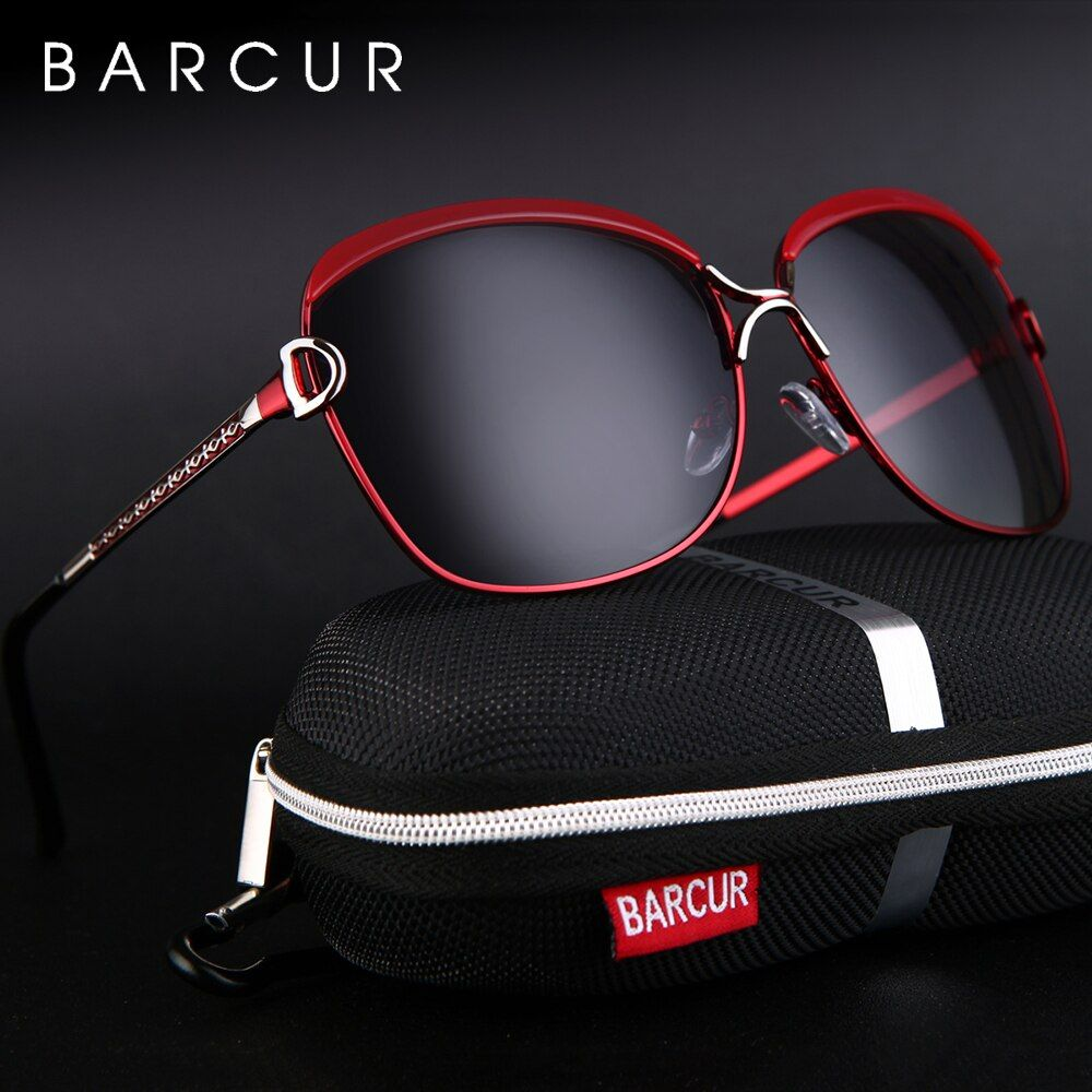BARCUR polarisé dames lunettes de soleil femmes dégradé lentille ronde lunettes de soleil carré de luxe marque lunette de soleil femme