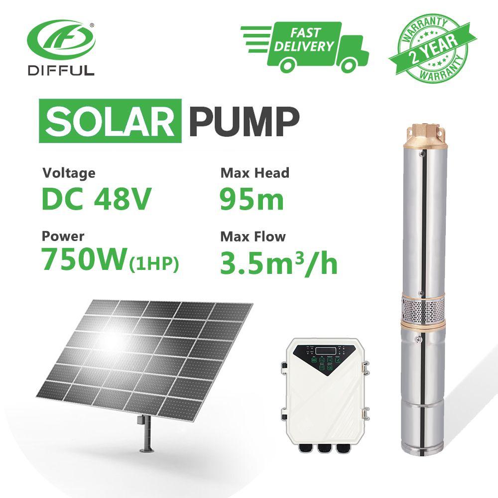 3 DC Tiefbrunnen Solar Wasserpumpe 48V 1HP Tauch MPPT Controller Kunststoff Laufrad Bohrung Loch Bewässerung (kopf 95 m, 3,5 T/H)