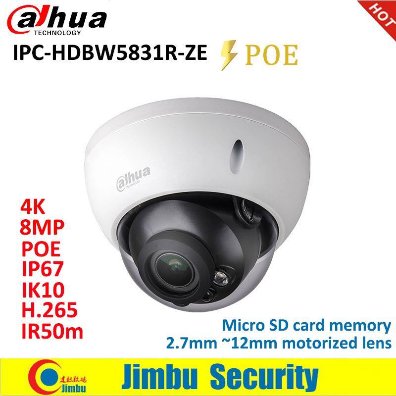 Dahua Ip-kamera 8MP IPC-HDBW5831R-ZE WDR IR50M IP67 IK10 PoE H.265 & H.264 2,7mm ~ 12mm motorisierte objektiv IR50m Micro SD karte speicher