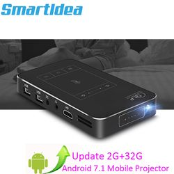 Newest Android7.1.2 Mini DLP LED Home Cinema Smart Projector 2G RAM Full HD 1080P Beamer Blutooth AirPlay Miracast AC3 Proyector