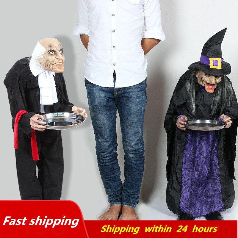 Halloween décoration électrique horreur accessoires jouets femme de ménage sorcière Halloween debout fantômes maison hantée maison Bar porte décor