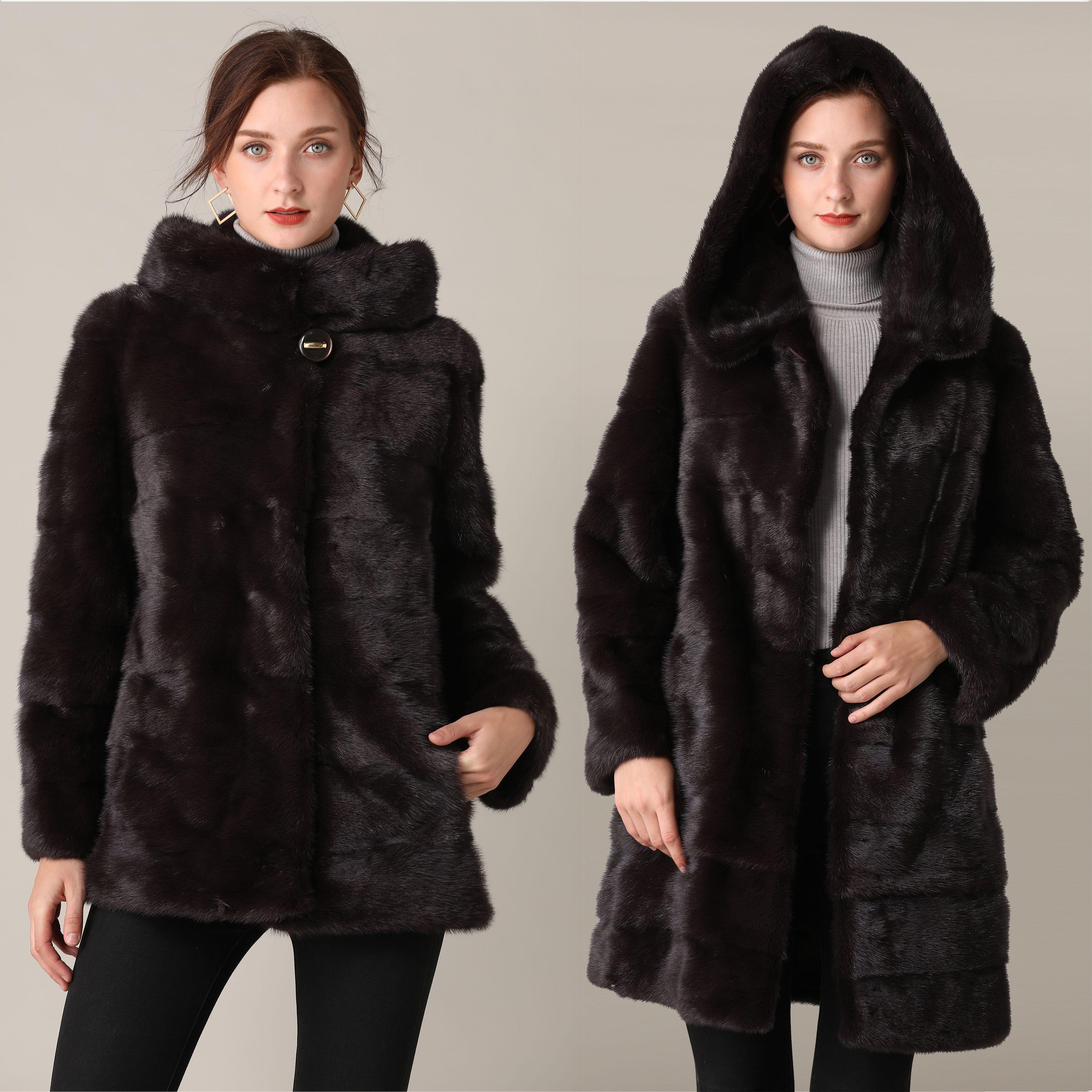 Real Nerz Mantel Winter Lange Natürliche Pelz Nerz Mäntel Schwarz Transformator Warme Frauen Kleidung 2019 Vintage Plus Größe