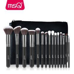 MSQ 4/15 Pcs Makeup Brushes Set Bubuk Foundation Eyeshadow Make Up Kit Kosmetik Rambut Sintetis Yang Lembut dengan case Kulit PU