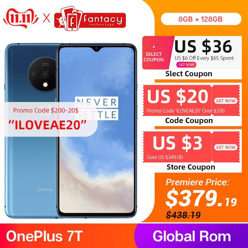 Globale ROM OnePlus 7T 8GB 128GB Smartphone Snapdragon 855 Plus AMOLED 90Hz Bildschirm 48MP Kameras Große batterie UFS 3,0 Warp Ladung