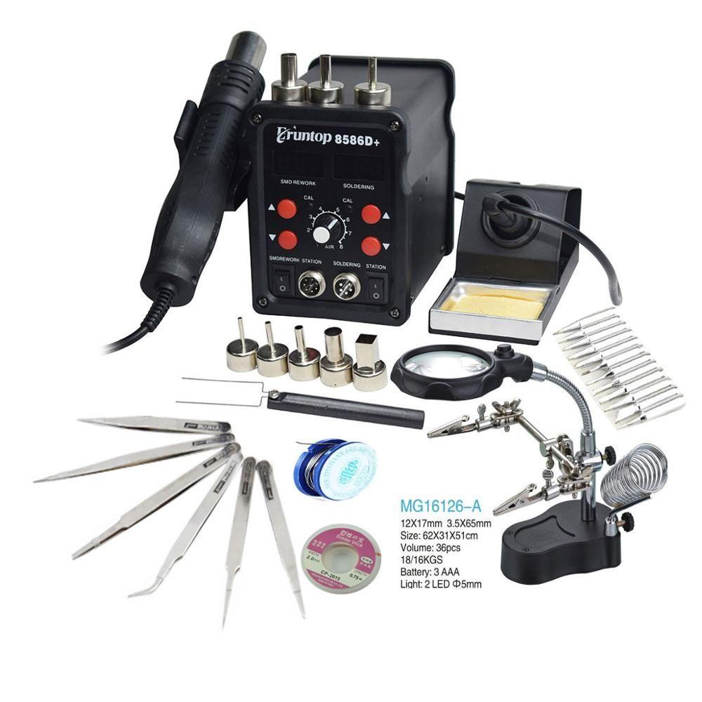 110/220V 750W 2 en 1 SMD équipement Station de reprise Eruntop 8586 8586 + 8586D + pistolet à Air chaud + fer à souder + élément chauffant