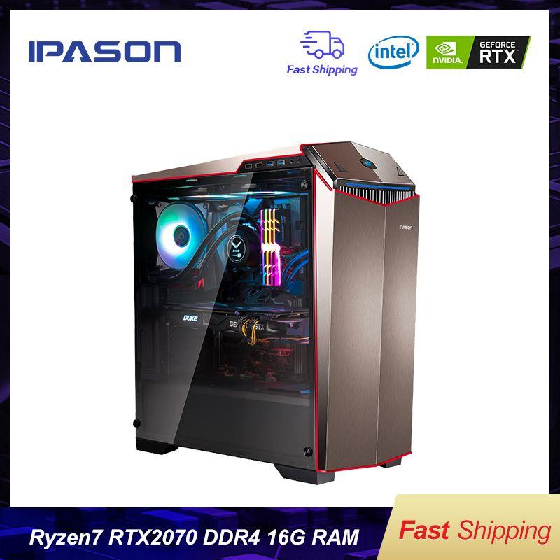 IPASON Gaming PC AMD 8-Core R7 2700 RTX2070 8G DDR4 16G RAM 256G SSD wasser -gekühlt spiel Desktop computer montage Gaming PC