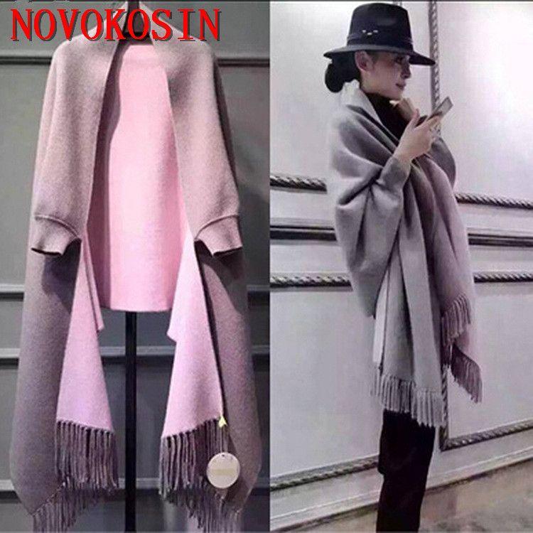 SC2 2018 Oversize Out Wear écharpe hiver tricoté Poncho femmes solide Design cape femme longues manches chauve-souris manteau Vintage châle