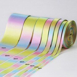 50yards/roll 9-75mm Light Rainbow Color Polyester Satin Ribbons for Wedding Party Decoration Christmas DIY Gifts