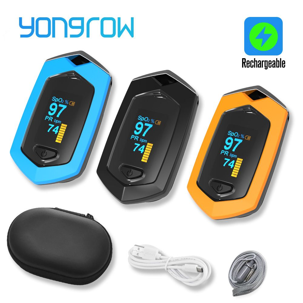 Yongrow Medical Rechargeable Digital Fingertip pulse Oximeter Blood Oxygen Saturation Meter Finger SPO2 PR Monitor