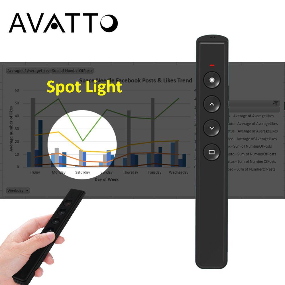 AVATTO 2.4Ghz RF projecteur Air souris sans fil PPT présentateur Clicker Rechargeable numérique Laser stylo présentation télécommande