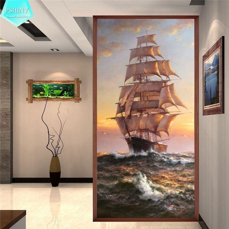 Pbrillant 5D bricolage diamant peinture bateau paysage photos avec affichage complet strass carrés diamant broderie vente nouveaux arrivants