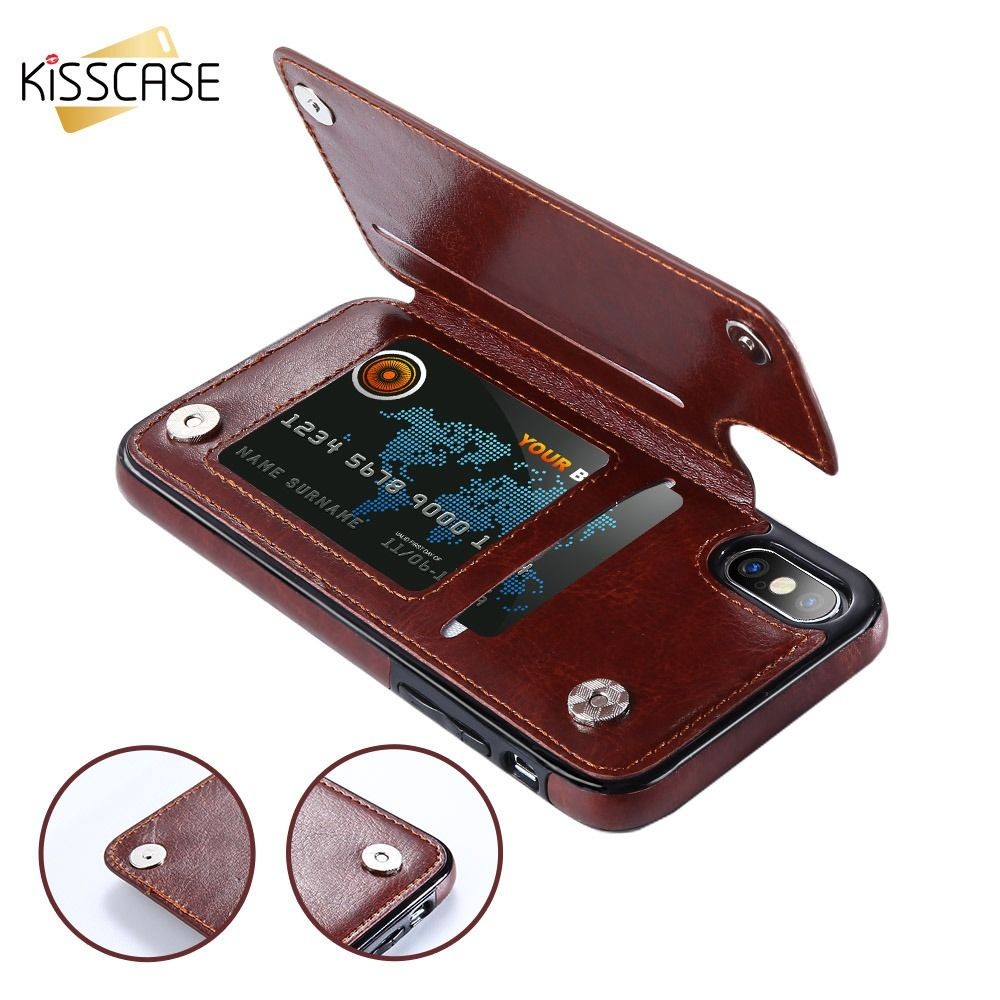 KISSCASE Flip PU Leather Case For iPhone X 7 8 6 6S Plus XR XS MAX Vintage Phone Cases For iPhone 11 Pro Max 5 5S SE Back Covers