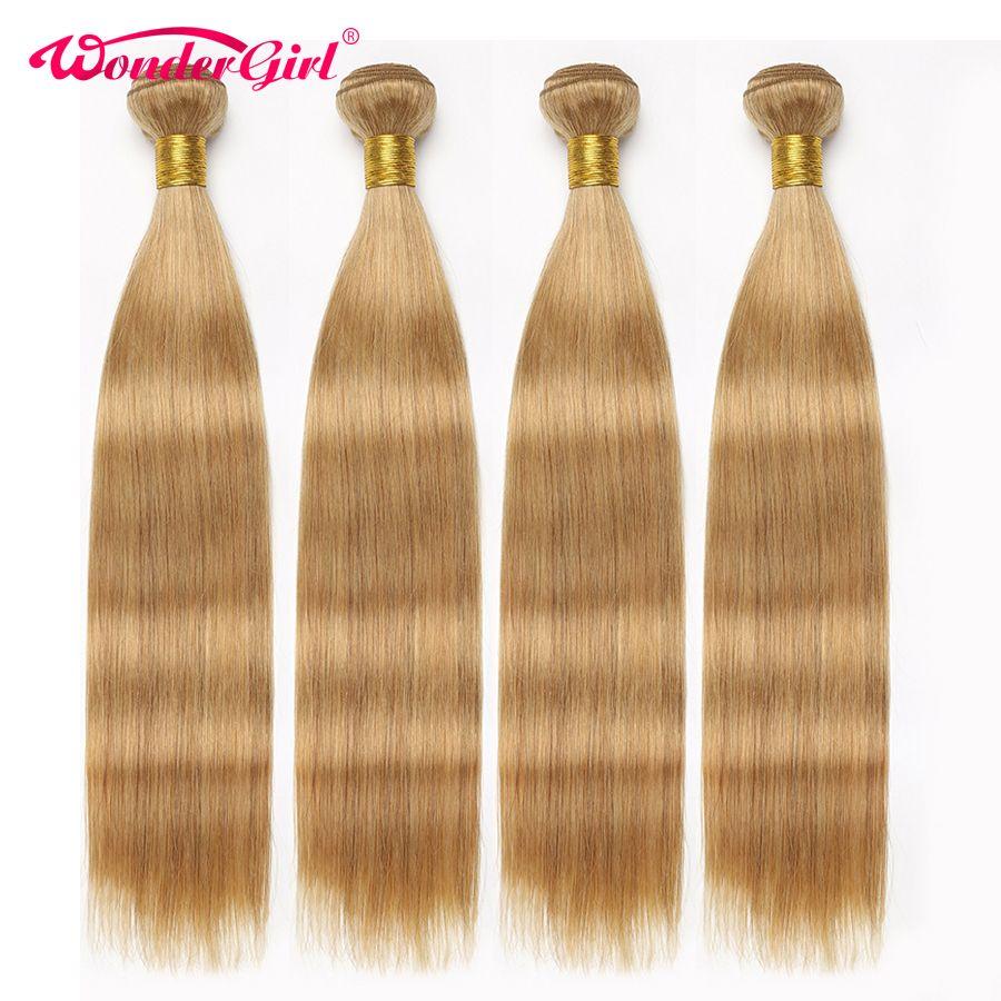 Wonder girl 3 Bundle offres couleur 27 miel Blonde brésilienne Extension de cheveux raides 100% paquets de cheveux humains 12-24 pouces non-remy