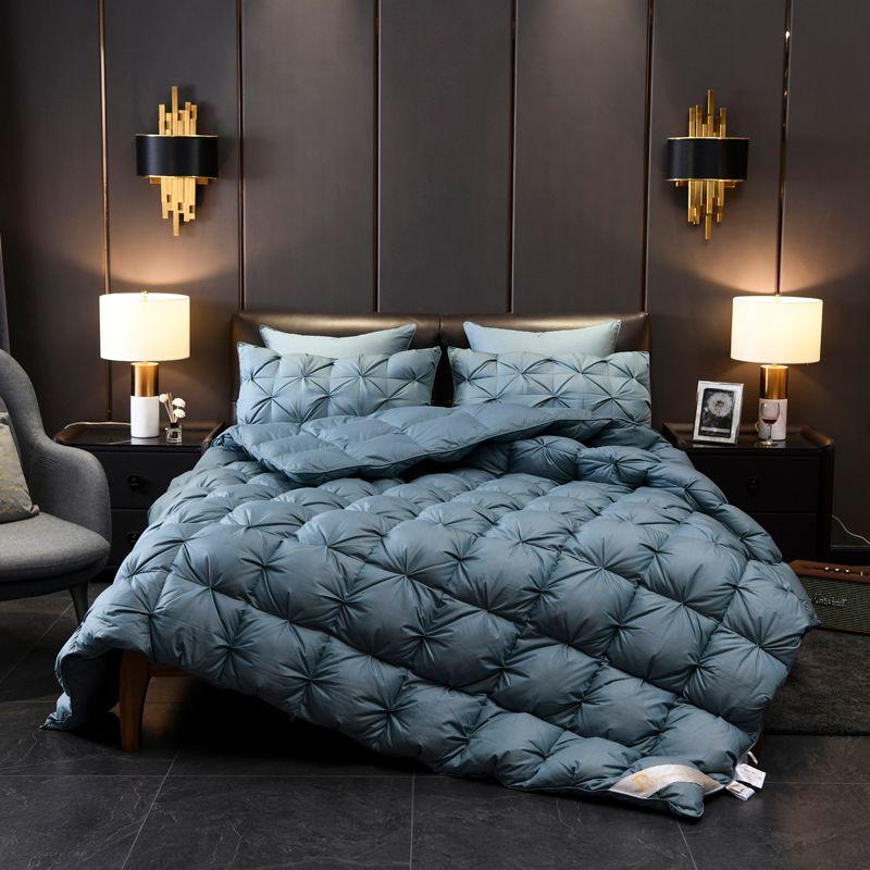 Luxuriöse 1000 Fadenzahl Gans Unten Tröster Bettwäsche Einfügen Twin Voll Königin König größe 100% Baumwolle Abdeckung Reversible Decke