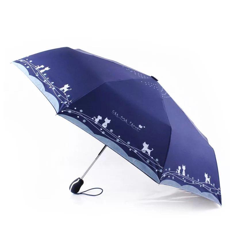 Original mignon chat automatique pluie soleil parapluie femmes Portable imperméable Parasol coupe-vent pliant parapluie en gros