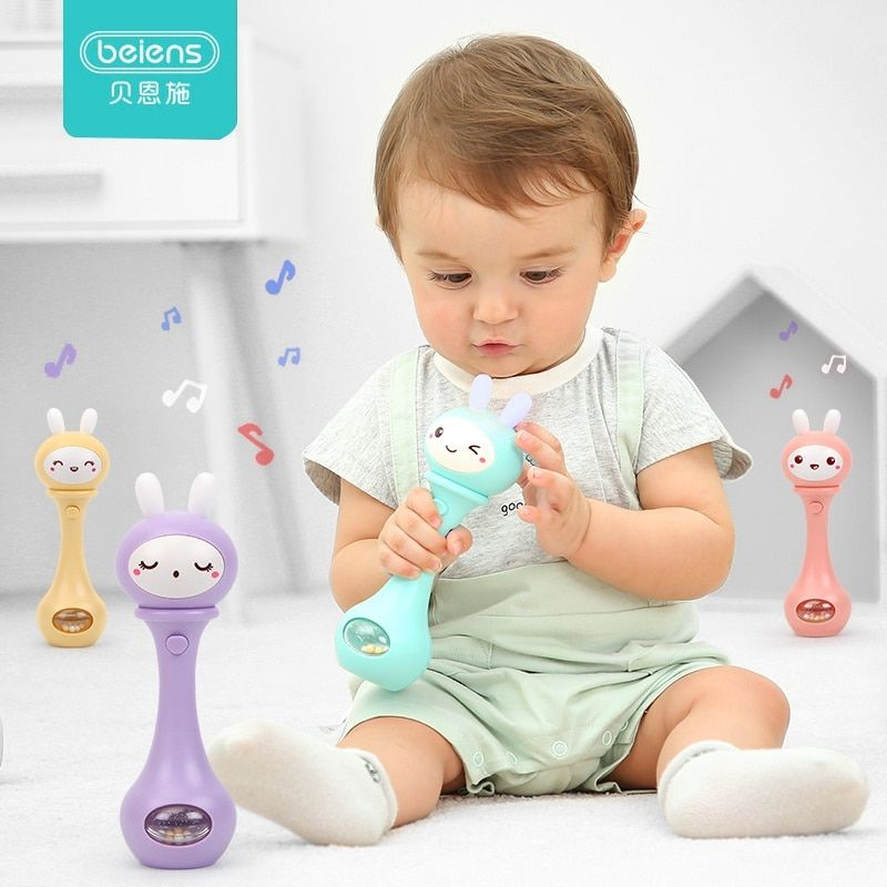 Beiens Baby Rattles Early Development Toys 0-12 Months Baby Musical Hand Shaking Rattle Toy Funny Educational Mobiles Toys Gifts