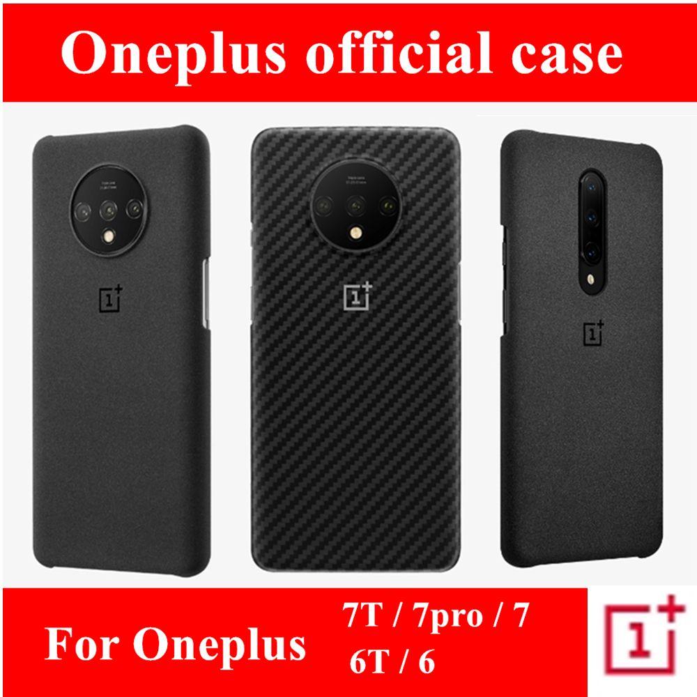 100% couverture arrière en silicone de grès officiel pour OnePlus 7T 6T 6 7 pro étui de protection accessoires d'origine karbon pare-chocs en Nylon