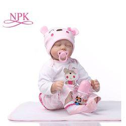 NPK 55 Cm Silikon Reborn Tidur Bayi Boneka Anak-anak Teman Bermain Hadiah untuk Anak Perempuan Bayi Hidup Lembut Mainan untuk Karangan Bunga Boneka bebe Reborn Mainan