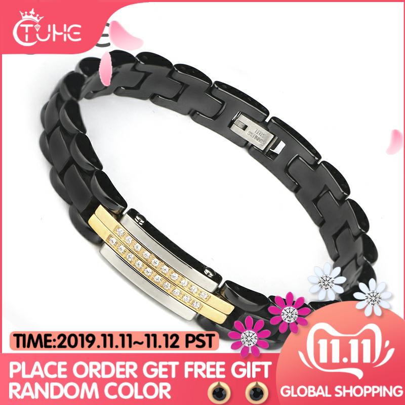 Nouveauté femmes Bracelets 20CM noir blanc céramique Bracelet blanc cristal acier inoxydable Bracelet & Bracelets bijoux pour femmes