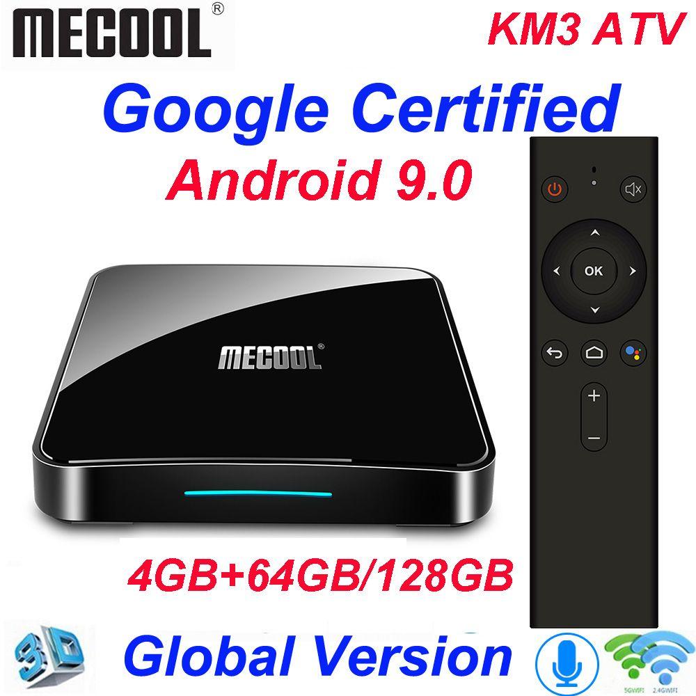 Mecool KM3 ATV 4G 64G 128G Android 9.0 Google certifié Androidtv Amlogic S905X2 4K Double Wifi Smart TV Box KM9 Pro 2/16G 4/32G