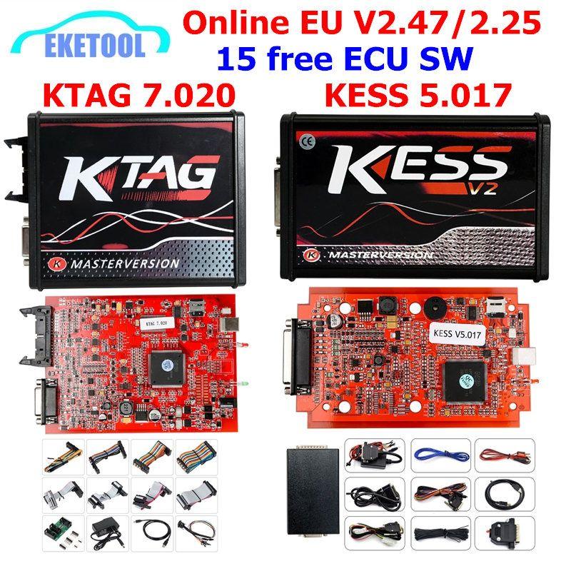 En ligne V2.47 KESS V5.017 V2 KTAG V7.020 V2.25 4LED aucun jeton OBD2 gestionnaire BDM K-TAG 7.020 KESS V2 maître ECU programmeur de mise à niveau