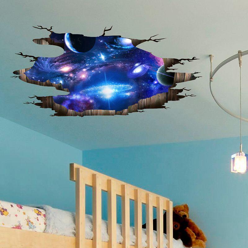 [SHIJUEHEZI] univers Galaxy 3D Stickers muraux bricolage espace extérieur voie lactée décoration murale pour enfants chambres sol plafond décoration