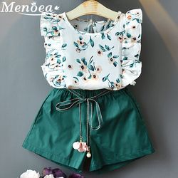 Menoea 2019 Brand New Girls Fashion Summer Sets Girls Clothes Kids Clothing Sets Sleeveless Floral T-Shirt Short 2Pcs Suits