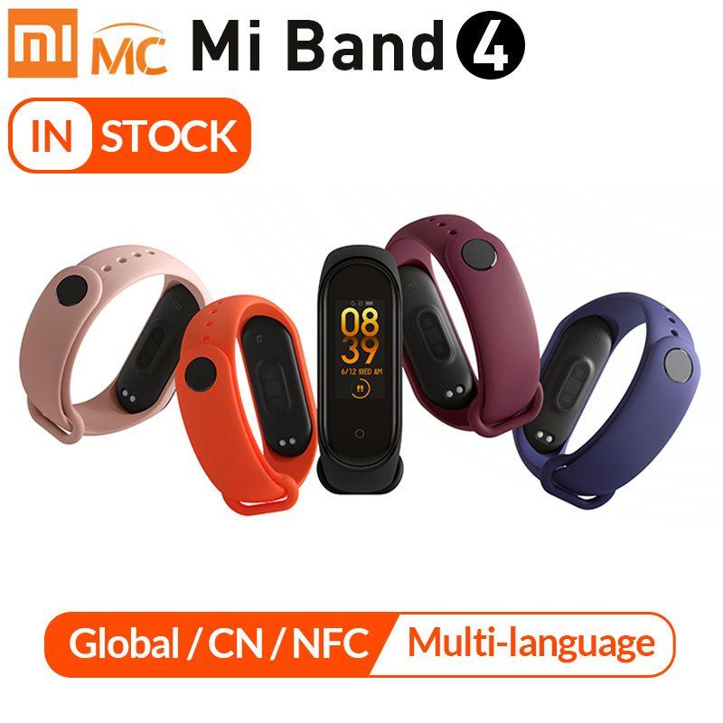 Original Xiao mi mi bande 4 Bracelet intelligent 3 couleurs AMOLED écran fréquence cardiaque Fitness Bluetooth 5.0 Sport 50ATM étanche SmartBand